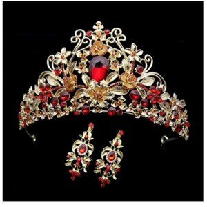 Red Crystal Gold tone Tiara With Earrings Crown